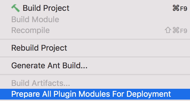 Screenshot showing the menu entries for builtin tools to build and deploy platform plugins